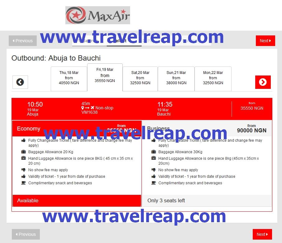 Max Air Online Booking